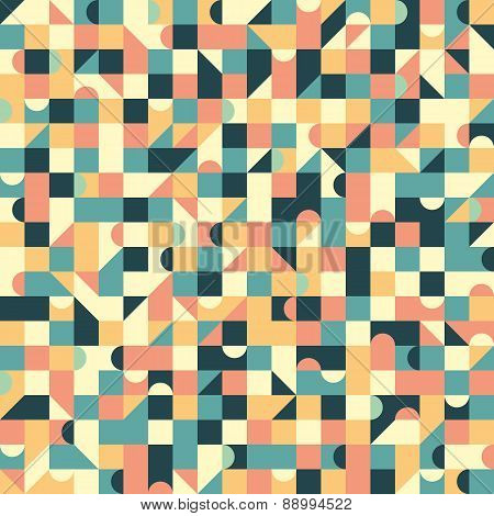 Vintage seamless pattern with squares and semicircle.