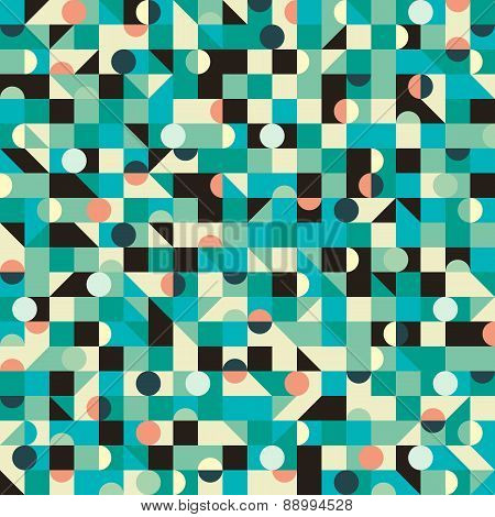 Vintage seamless pattern with triangles and circles.