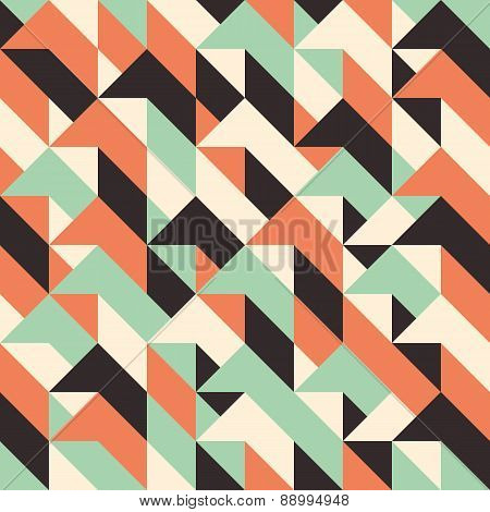 Seamless pattern with rhombuses and triangles.