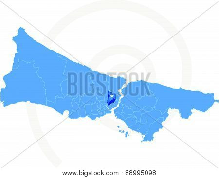 Istanbul Map With Administrative Districts Where Kagithane Is Pulled