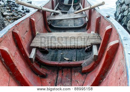 Old Wood Boat In Red, Closeup Detail