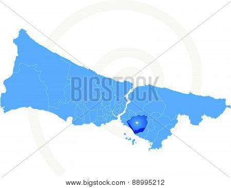 Istanbul Map With Administrative Districts Where Maltepe Is Pulled