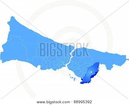 Istanbul Map With Administrative Districts Where Tuzla Is Pulled