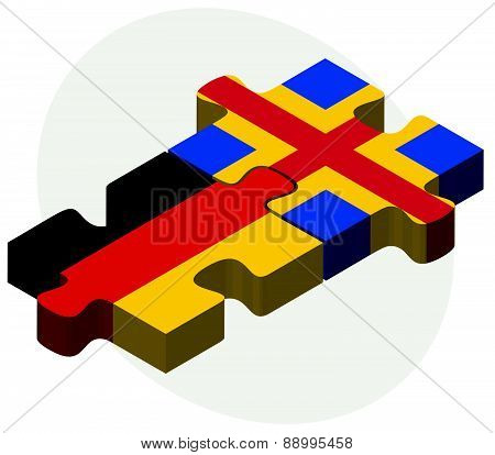 Germany And Aaland Islands Flags In Puzzle
