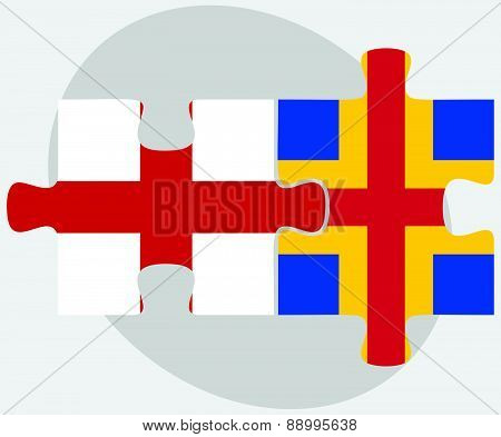 England And Aaland Islands Flags In Puzzle