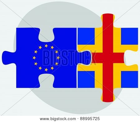 European Union And Aaland Islands Flags In Puzzle