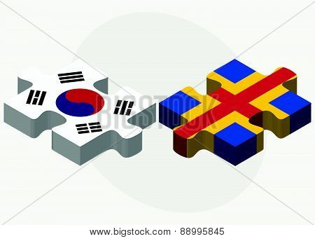 South Korea And Aaland Islands Flags In Puzzle Isolated