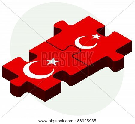 Turkey And Turkey Flags In Puzzle