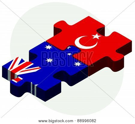 Australia And Turkey Flags In Puzzle