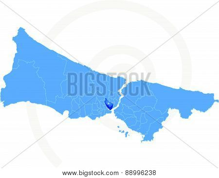 Istanbul Map With Administrative Districts Where Beyoglu Is Pulled