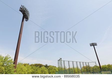 Light poles in the stadium