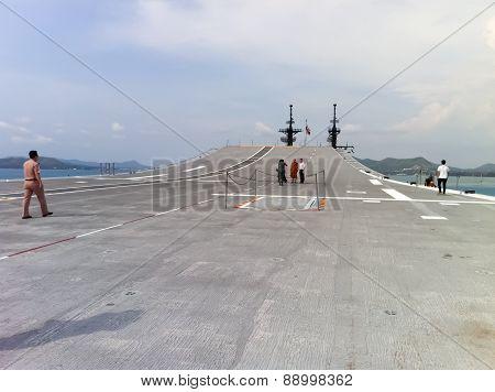 Tourists Visiting Battleship