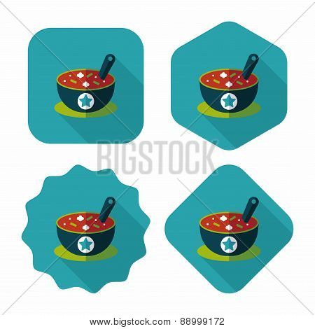 Soup Flat Icon With Long Shadow,eps10