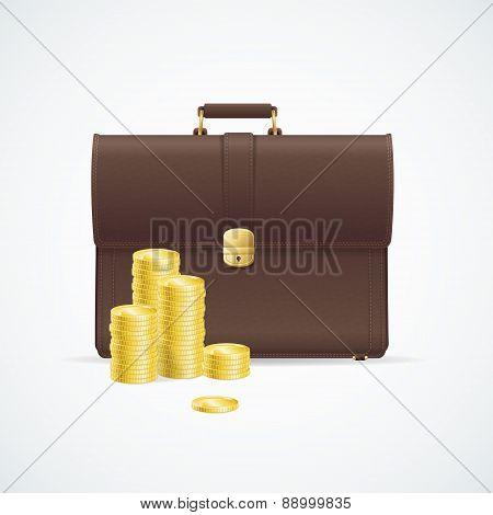 Vector briefcase, cuitcase and money concept