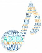 stock photo of prone  - ADHD musical note shaped word cloud on a white background - JPG