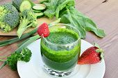pic of strawberry  - Green vegetable smoothie with strawberries - JPG