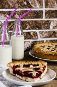 picture of cherry pie  - Homemade cherry pie with milk on wooden table - JPG