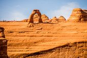 stock photo of arch  - famous Delicate Arch in Arches National Park - JPG