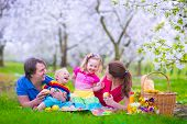 image of little young child children girl toddler  - Young family with kids having picnic outdoors. Parents with two children relax in a blooming summer garden. Mother father little girl and baby boy eat sandwich and fruit drink juice for healthy lunch in a park. ** Note: Shallow depth of field - JPG