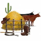 picture of cow  - Cowboy Farming Concept with cows - JPG