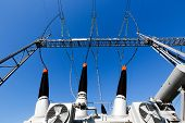 picture of power transmission lines  - Converter transformer in electrical substation  - JPG