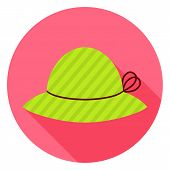 pic of headdress  - Flat Fashion Hat Circle Icon with Long Shadow - JPG