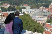 Couple In Love Looking Down On A City poster
