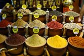 pic of spice  - Variety of spices displayed in spice bazaar Turkey - JPG