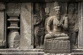image of sanskrit  - Stone bas relief from the Prambanan Temple near Yogyakarta - JPG