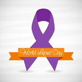 stock photo of lupus  - illustration of stylish purple ribbon for World Lupus Day in gray background - JPG