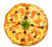 foto of hot fresh pizza  - hot fresh a pizza with tomatoes isolated on white background - JPG