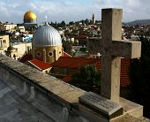 picture of hospice  - View of the Dome of the Rock and the Old City of Jerusalem from the roof of the Austrian Hospice - JPG