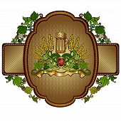 pic of hop-plant  - beer background with mug and hop grain pattern - JPG