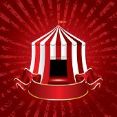 image of tarp  - circus tent icon with blank banner on grunge burst background - JPG
