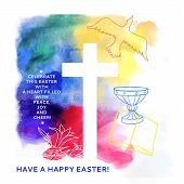 foto of golgotha  - colorful abstract background includes happy easter words - JPG