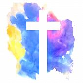stock photo of baptism  - colorful abstract background with cross in watercolor style - JPG