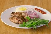 image of liver fry  - Roasted chicken liver with vegetable on wooden background - JPG