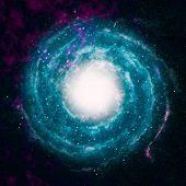 stock photo of fog  - blue spiral fog in the black space - JPG