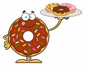 pic of donut  - Chocolate Donut Cartoon Character Serving Donuts - JPG