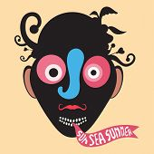 foto of clown face  - Black clown face silhouette with colored elements and banner - JPG