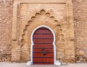 pic of door  - Traditional Moroccan style design of an ancient door at the Koutoubia Mosque in Marrakesh Morocco also known as Mosque of the Booksellers - JPG