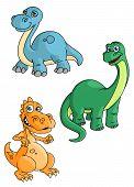 pic of tyrannosaurus  - Cute smiling cartoon dinosaurs characters with orange tyrannosaurus - JPG