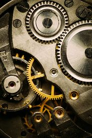 picture of time machine  - Clockwork Background. Close-up Of Old Clock Watch Mechanism With Gears