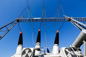 stock photo of transformer  - Converter transformer in electrical substation  - JPG