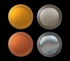 pic of bronze silver gold platinum  - The metal of medal for the prize concept - JPG