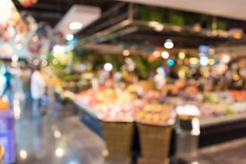 stock photo of department store  - Blur background photograph of colorful supermarket in the department store building - JPG