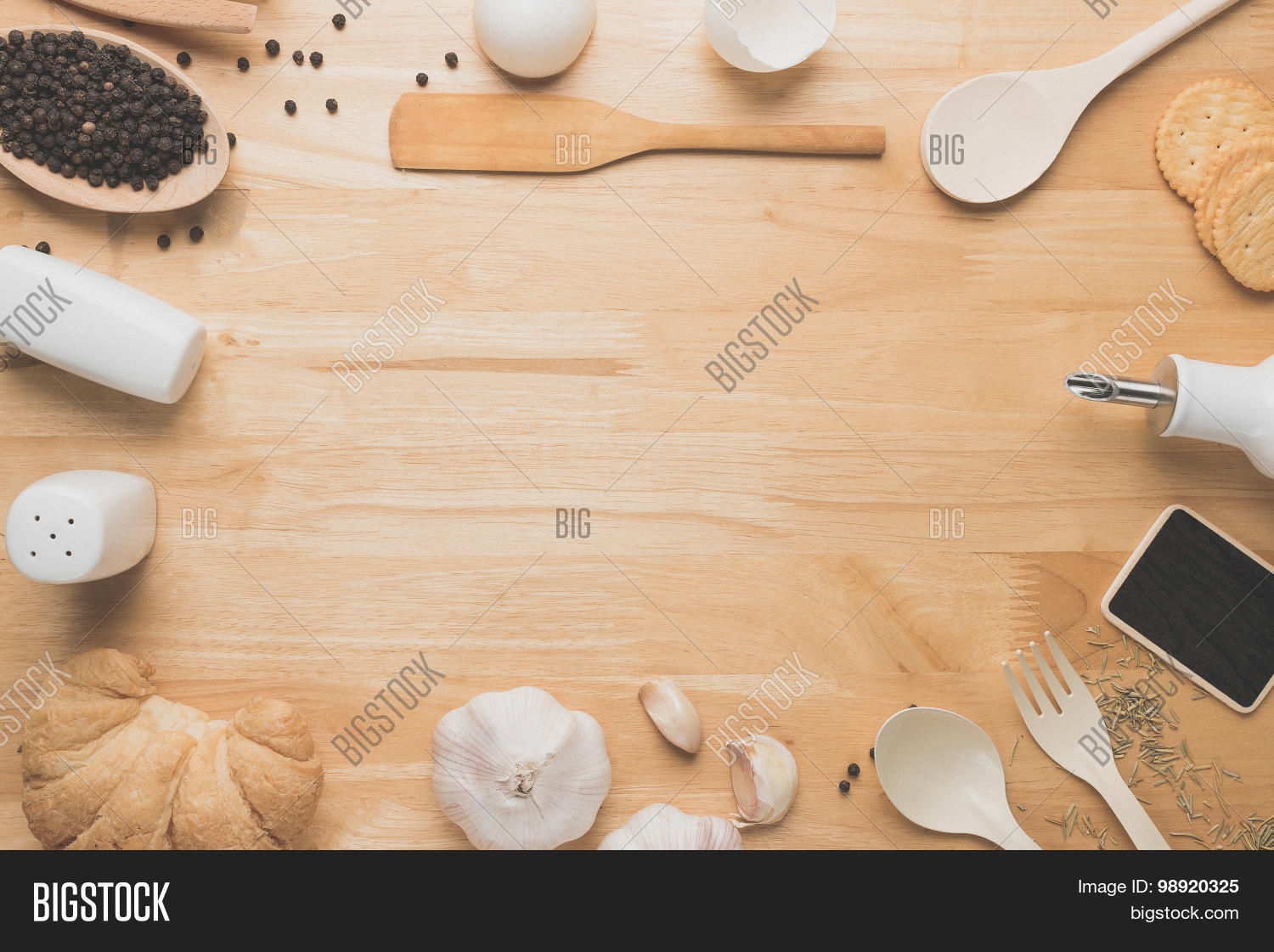 Kitchen table top view - Top View Kitchen Mockup Rural Kitchen Utensils And Ingredients On Wooden Table