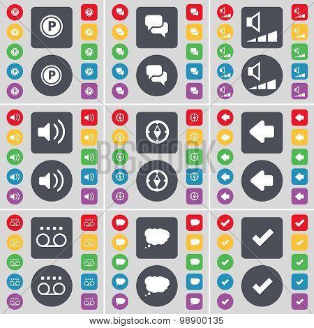 Parking, Chat, Volume, Sound, Compass, Arrow Left, Cassette, Cha Icon Symbol. A Large Set Of Flat, C