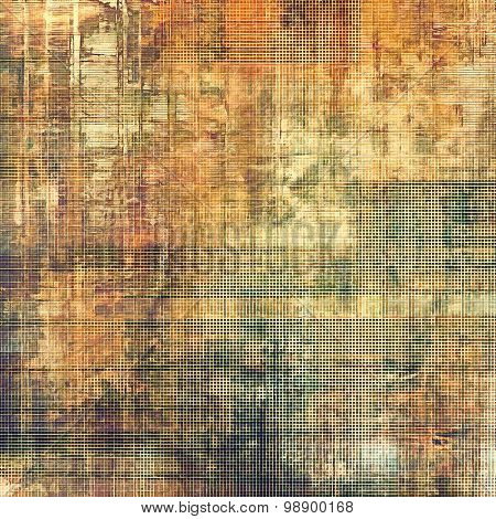 Old grunge background with delicate abstract texture and different color patterns: yellow (beige); brown; green; gray