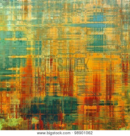 Art vintage background with space for text and different color patterns: yellow (beige); red (orange); green; blue